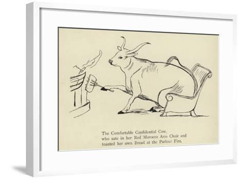 The Comfortable Confidential Cow-Edward Lear-Framed Art Print