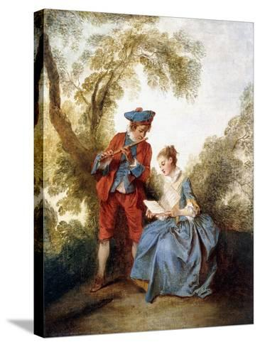 A Couple Making Music in a Landscape-Nicolas Lancret-Stretched Canvas Print