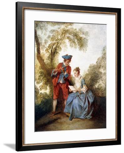 A Couple Making Music in a Landscape-Nicolas Lancret-Framed Art Print