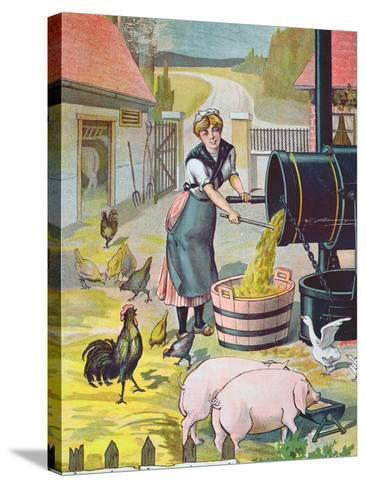 Preparing Food for the Animals in the Farmyard--Stretched Canvas Print