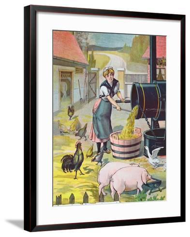 Preparing Food for the Animals in the Farmyard--Framed Art Print
