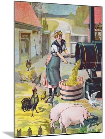 Preparing Food for the Animals in the Farmyard--Mounted Giclee Print