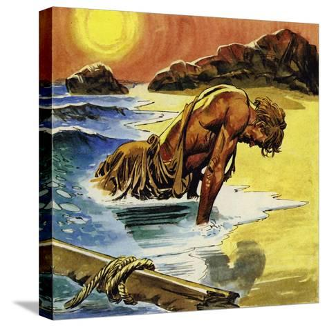 Ulysses Washed Up on the Island of Ogygia--Stretched Canvas Print