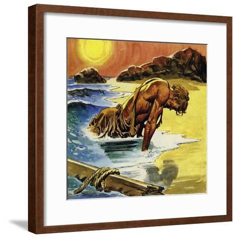 Ulysses Washed Up on the Island of Ogygia--Framed Art Print