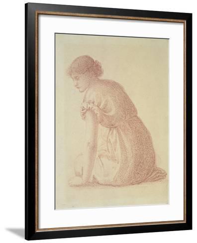 A Seated Figure of a Woman, 19th Century-Edward Burne-Jones-Framed Art Print