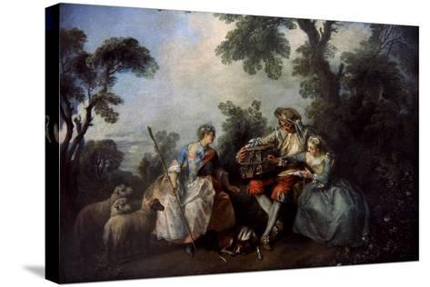 The Bird Cage, Ca.1735-Nicolas Lancret-Stretched Canvas Print
