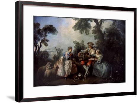 The Bird Cage, Ca.1735-Nicolas Lancret-Framed Art Print