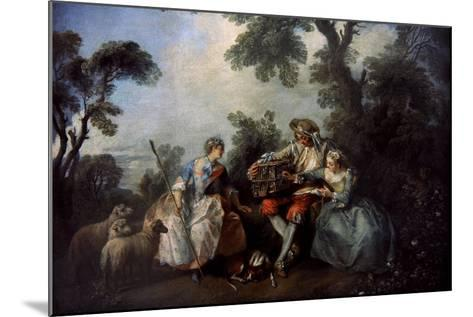 The Bird Cage, Ca.1735-Nicolas Lancret-Mounted Giclee Print