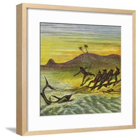 Catching a Shark-Ernest Henry Griset-Framed Art Print