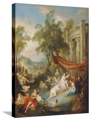 Nymphs Bathing at a Pool by a Loggia-Jean-Baptiste Joseph Pater-Stretched Canvas Print