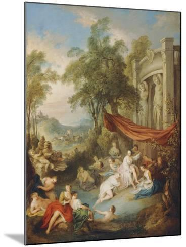 Nymphs Bathing at a Pool by a Loggia-Jean-Baptiste Joseph Pater-Mounted Giclee Print