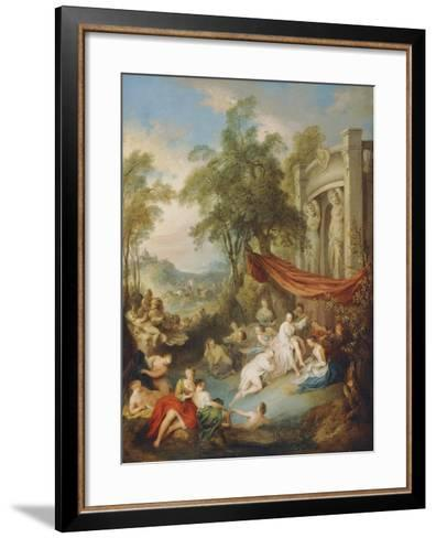 Nymphs Bathing at a Pool by a Loggia-Jean-Baptiste Joseph Pater-Framed Art Print
