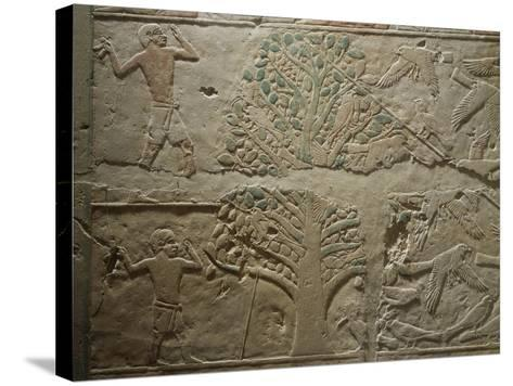 Bird Hunting with Net, Relief from the Mastaba--Stretched Canvas Print