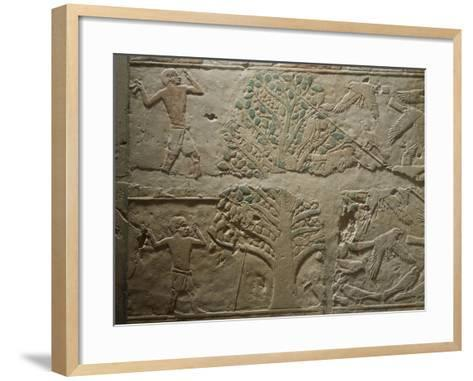 Bird Hunting with Net, Relief from the Mastaba--Framed Art Print