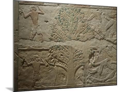 Bird Hunting with Net, Relief from the Mastaba--Mounted Giclee Print