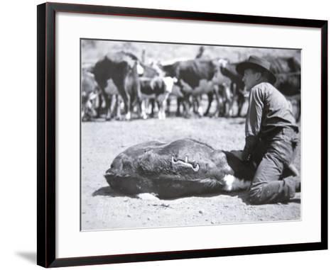 Cattle Brand of Ox Yoke Ranch, Montana--Framed Art Print