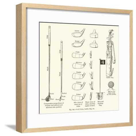 Golf Clubs, Caddie Bag, Etc--Framed Art Print