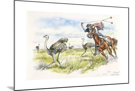 Argentina - Herdsmen Hunting Rheas in the Pampas--Mounted Giclee Print