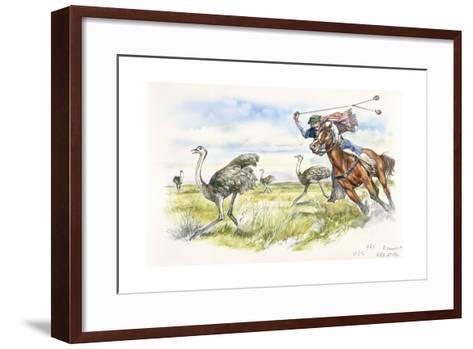 Argentina - Herdsmen Hunting Rheas in the Pampas--Framed Art Print