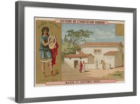 Greek House and Costumes--Framed Art Print