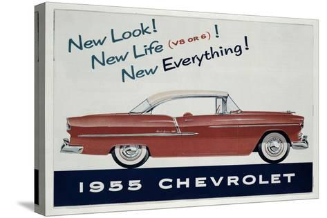 Poster Advertising the 1955 Chevrolet Car--Stretched Canvas Print