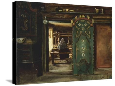 Woman at Loom, 1874-Adolph Tidemand-Stretched Canvas Print