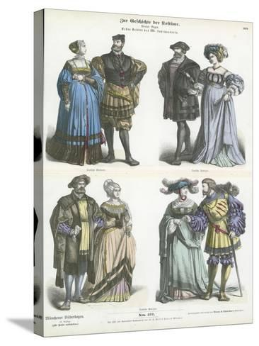German Costumes, Early 16th Century--Stretched Canvas Print