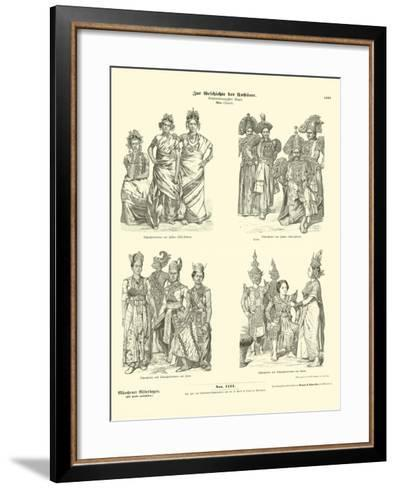 Asian Actors' Costumes, Late 19th Century--Framed Art Print