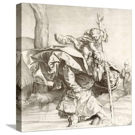 St Christopher Carrying the Christ Child-Lucas van Leyden-Stretched Canvas Print