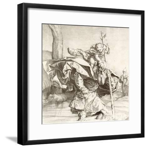 St Christopher Carrying the Christ Child-Lucas van Leyden-Framed Art Print
