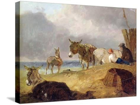 Donkeys and Figures on a Beach-Julius Caesar Ibbetson-Stretched Canvas Print