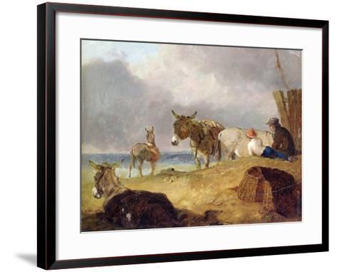 Donkeys and Figures on a Beach-Julius Caesar Ibbetson-Framed Art Print