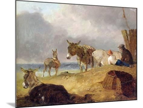 Donkeys and Figures on a Beach-Julius Caesar Ibbetson-Mounted Giclee Print