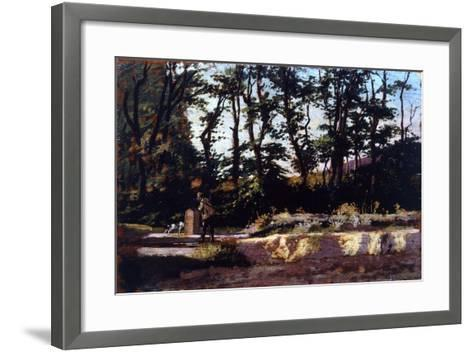 Hunter at Well, 1875-1880-Eugenio Cecconi-Framed Art Print