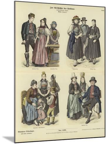Costumes from Baden, Germany, 19th Century--Mounted Giclee Print