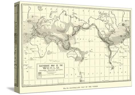Earthquake Map of the World--Stretched Canvas Print