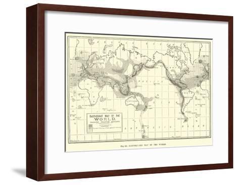 Earthquake Map of the World--Framed Art Print