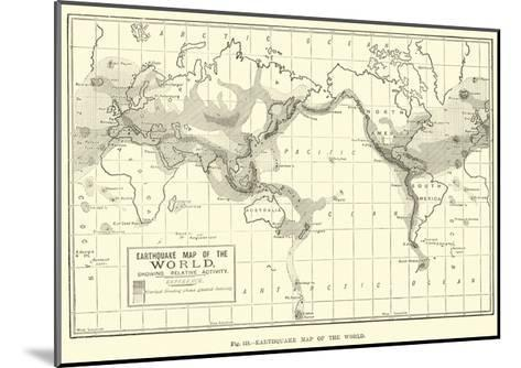 Earthquake Map of the World--Mounted Giclee Print