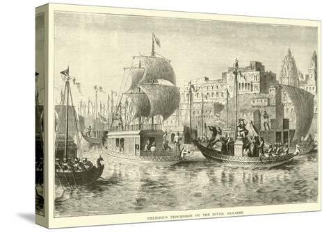 Religious Procession on the River, Benares--Stretched Canvas Print