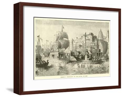 Religious Procession on the River, Benares--Framed Art Print