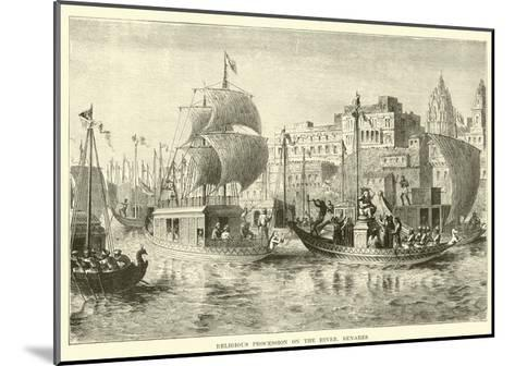 Religious Procession on the River, Benares--Mounted Giclee Print