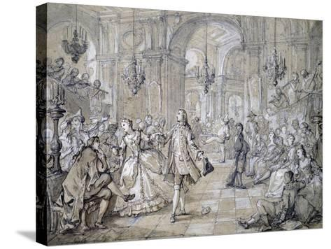 Masquerade Ball, Drawing-Charles Natoire-Stretched Canvas Print