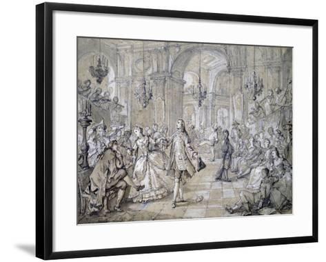 Masquerade Ball, Drawing-Charles Natoire-Framed Art Print