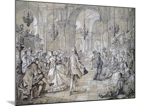 Masquerade Ball, Drawing-Charles Natoire-Mounted Giclee Print