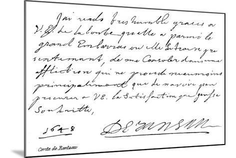 Comte De Rantzau--Mounted Giclee Print