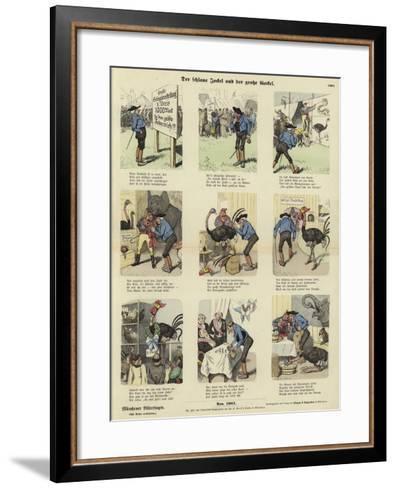 The Sly Jockel and the Large Cockerel--Framed Art Print