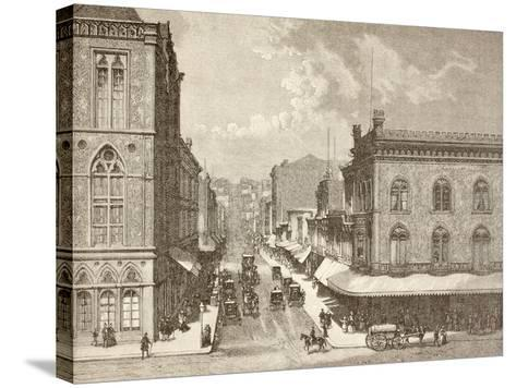 Montgomery Street, San Francisco in the 1880S--Stretched Canvas Print