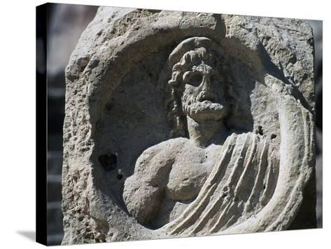 Relief with Bust of Zeus, Petra--Stretched Canvas Print