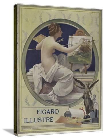 A Partially-Nude Woman Painting at an Easel-Francois Flameng-Stretched Canvas Print