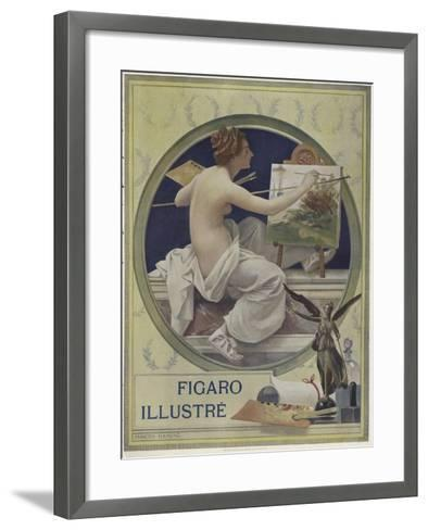 A Partially-Nude Woman Painting at an Easel-Francois Flameng-Framed Art Print